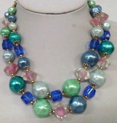 "Stunning Vintage Estate Glass Beaded Signed Japan 17"" Necklace!!! 1533F"