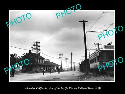 OLD LARGE HISTORIC PHOTO OF ALHAMBRA CALIFORNIA, PACIFIC ELECTRIC STATION c1950