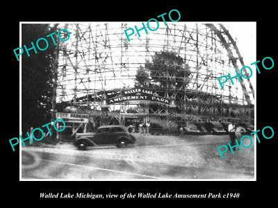 Old Large Historic Photo Of Walled Lake Michigan View Of The Amusement Park 1940