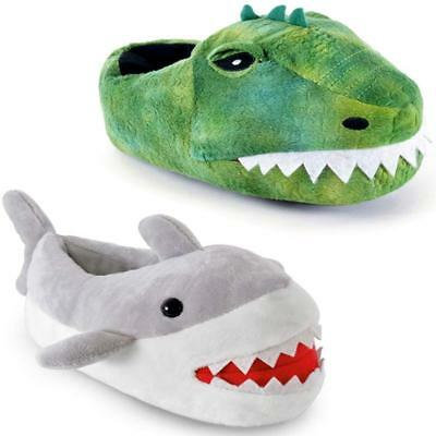 Boys Girls Kids Slippers Size 10 11 12 13 1 2 3 Shark Crocodile Novelty Present