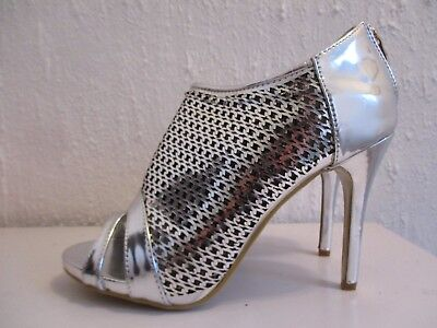 JENNIKA Silver Metallic Party Peep Toe Ankle Shoes Bootie Size 8 41 New
