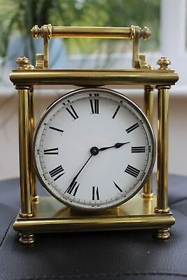 Unusual Brass Drum Clock c1900  with Original Fitted Case.