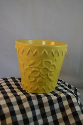 McCoy Pottery Yellow Jardiniere Flower Pot with Zigzag border