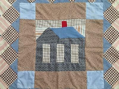 Rare Schoolhouse Medallion c1900 QUILT TOP 61x60 Lots of Blue