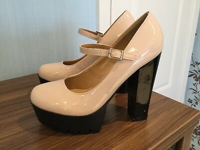 Ladies WOW !!very unusual clubbing high heel nude patent shoes size 6 nwob