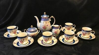 Vintage 15 pc Fresh China Tea Set Blue Lusterware with Flowers Made in Japan