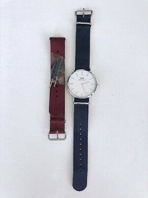 470af905f1dd Authentic Daniel Wellington Classic Bayswater 40mm Silver Watch 2 Bands  Navy Red