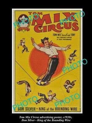OLD LARGE HISTORIC PHOTO OF COWBOY TOM MIX CIRCUS ADVERTISING POSTER c1930 6