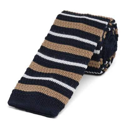 Navy Blue Casual Stripe Knit Skinny Tie