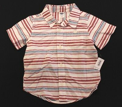 Old Navy Boys Short Sleeve Striped Button Up Shirt BF5 Multi-Color Size 18-24M