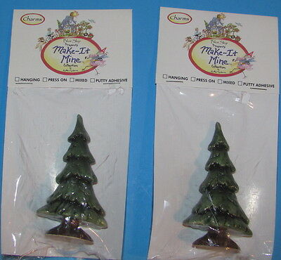 2 Blue Sky Presents Make-It-Mine Evergreen Tree Ceramic Heather Goldminc Xmas