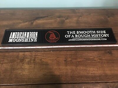 "American Born Moonshine 21"" X 3 1/2"" Rubber Bar Spill Mat - New - Rare"