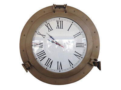 "Ship's Cabin Porthole Clock Antique Brass Finish 20"" Aluminum Hanging Wall Decor"