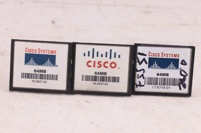 Qty 3 Cisco 64MB Compact Flash Memory Card for 1800 2800 3800 1900 2900 Router