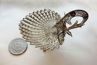 Finely Crafted Silver Peacock? Small Dish From Spain? 1900-1940, Free USA Ship