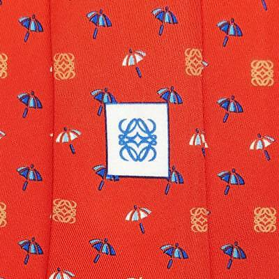 LOEWE TIE MUNDO NAUTICO Umbrella on Orange Red Classic Silk Necktie