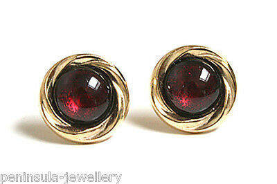 9ct Gold Garnet Earrings Studs Gift Boxed Made in UK
