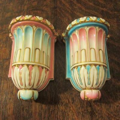 2x SMALL 19thC MINTON PORCELAIN PINK & BLUE WALL BRACKETS