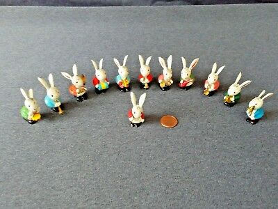 Set Of 12 Miniature Bunny Rabbit Band/ Orchestra Wooden Figures From Italy