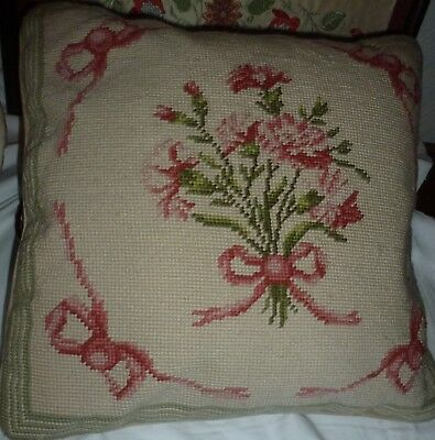 Vintage completed needlework hand embroidered cushion Carnations