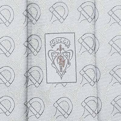 GUCCI TIE Horse Bit on Pale Blue Wide Woven Silk Necktie