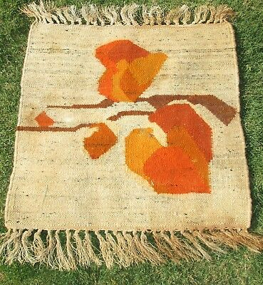 "Vtg  Handmade European Woven Wool Mid Century Small Rug/ Wall Hanging 19"" Abstra"