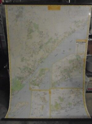 Wall Map Myrtle Beach Area SC Coastline Wall Map Large Map Collectible Map