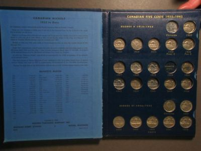 COIN ALBUM-CANADIAN Nickels 1922-1966+  Whitman Classic - 3 Pages w/65 Coins