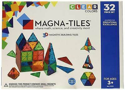 Valtech MagnaTiles 32 piece set Clear 3D Magnetic Building Tiles 3+