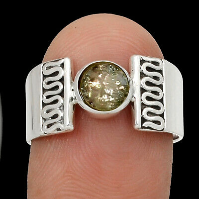 Ancient Roman Glass 925 Sterling Silver Ring Jewelry s.8.5 RR222853