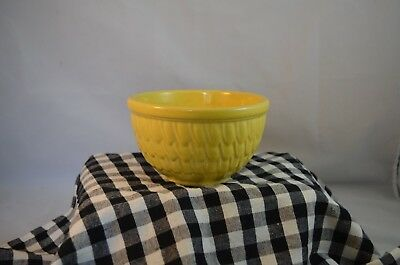 Rare Vintage 5 x 3 McCoy Pottery Yellow Fish Scale or Feather Mixing Bowl Small