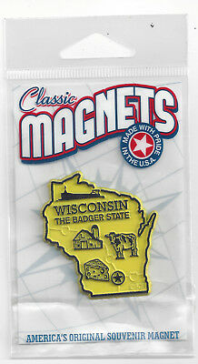 """WISCONSIN  """"THE BADGER STATE""""   OUTLINE MAP MAGNET in Souvenir Bag, NEW USA MADE"""