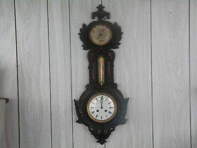 "Beautiful Antique Victorian Cast Iron 26"" Wall Clock, Thermometer, Barometer"
