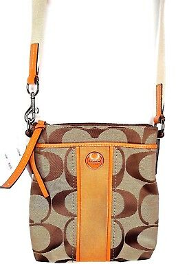 642ba5ff87c New Coach Signature Stripe Khaki Orange Spice Swingpack Crossbody Bag -NWT