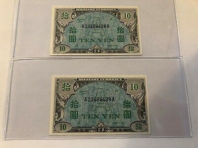Allied Military Currency 10 YEN SERIES 100 A UNDERPRINT CONSECUTIVE PAIR