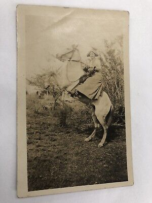 Real Photo Postcard Cowgirl Rearing Horse