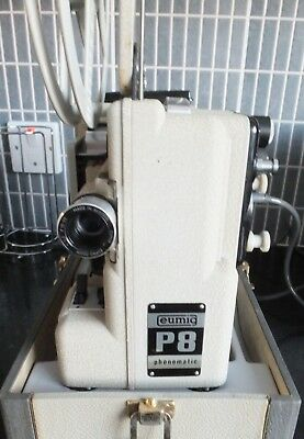 Cine film projector EUMIG P8 8mm PHONOMATIC AUTOMATIC + box + lead WORKING- READ