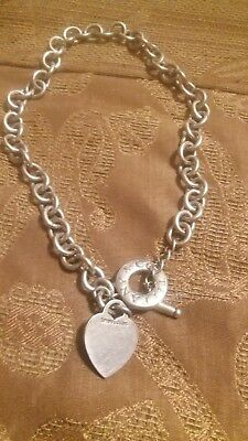 Tiffany & Co. Sterling Silver Plain Heart Tag Toggle Chain Link Necklace 16""
