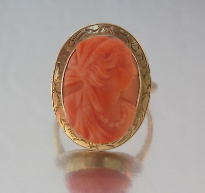Antique Victorian 10K Gold Carved Coral Cameo Ring