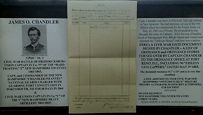CIVIL WAR FREDERICKSBURG CAPTAIN 2nd NEW HAMPSHIRE INFANTRY DOCUMENT SIGNED 1865