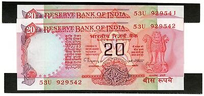 INDIA 20 Rupees 1997 P82i Letter B x 2 Consecutive UNC Banknotes