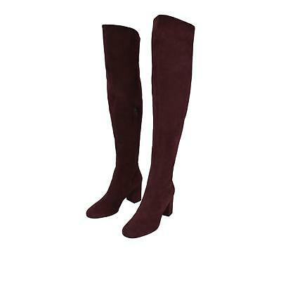 23c4a46d7a35 NEW YSL Saint Laurent 393826 $1,495 Burgundy Suede Over the Knee Boots Shoes