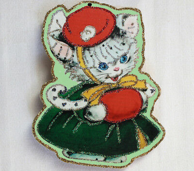 Glittered Wooden Christmas Ornament ~Cat in Green Coat & Hat~Vintage Card Image