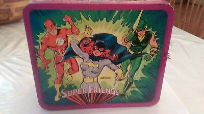 Vintage SUPER FRIENDS 1976 Aladdin Metal Lunchbox No Thermos DC SUPER HEROES