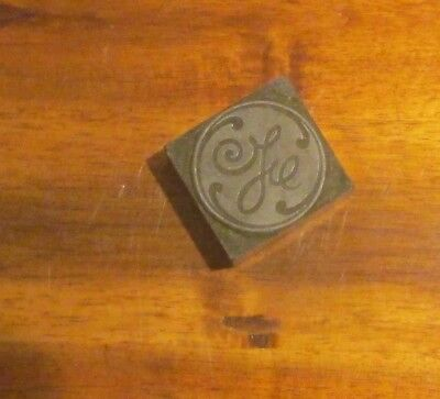 Vintage Advertising Printing Printer's Slug Block Stamp GE logo General Electric
