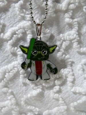 "New Star Wars YODA  Pendant On 24""  Silvertone Beaded Chain Necklace N 409"