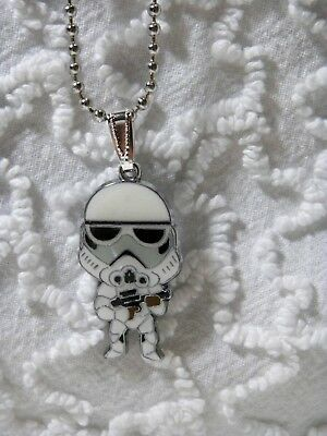 "New Star Wars Stormtropper Pendant On 24""  Silvertone Beaded Necklace N 410"