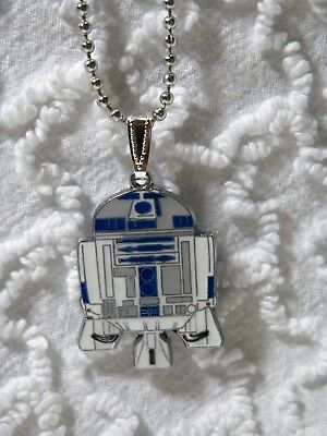 "New Star Wars R2 D2 Pendant On 24""  Silvertone Beaded Chain Necklace N 408"