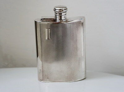 Vintage Sterling Silver Flask Rare Excellent Made in England 193g Guillochet