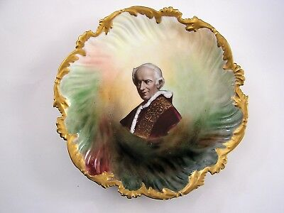 Pope Leo XIII (1810-1903) Hand Painted Limoges Souvenir Dish Plate T&V France